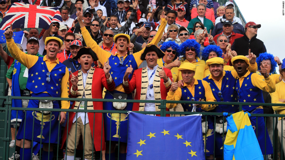 European fans get into the spirit during the afternoon four-ball matches on Friday.