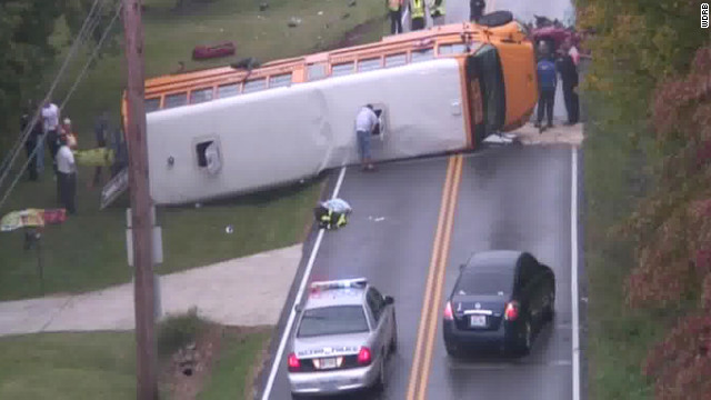Forty seven students were taken to the hospital after this school bus rolled on its side.