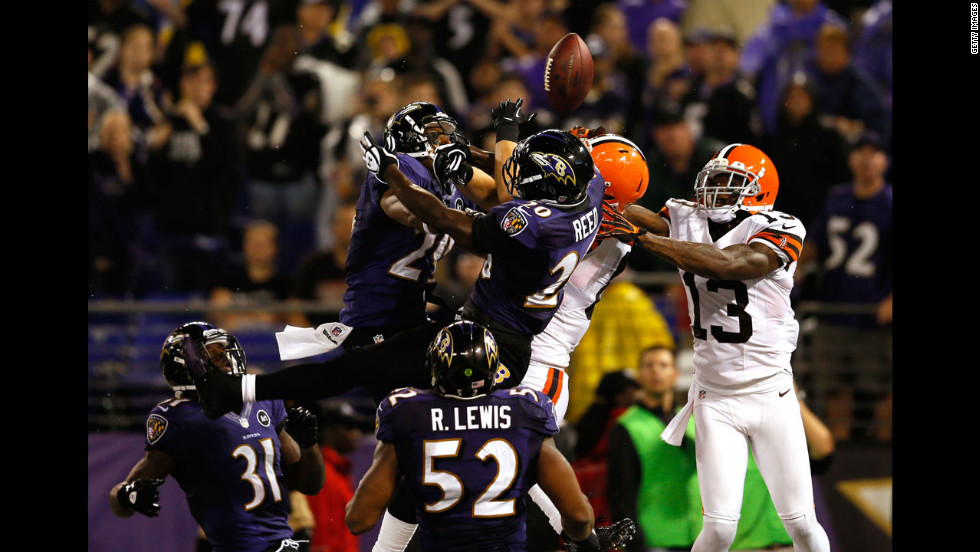 Free safety Ed Reed, No. 20 of the Baltimore Ravens, breaks up a pass in the end zone intended for Cleveland tight end Jordan Cameron late in the fourth quarter.