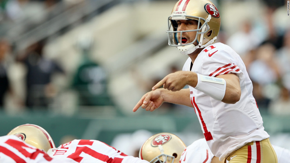 Alex Smith of the San Francisco 49ers calls out the play in the first quarter Sunday against the New York Jets.