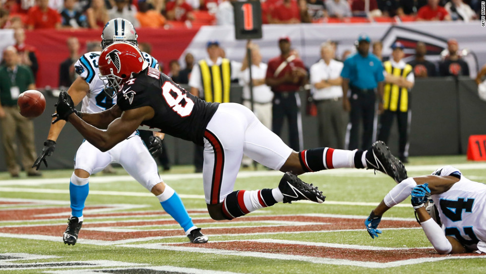 Roddy White of the Atlanta Falcons fails to pull in a touchdown reception against the Carolina Panthers on Sunday.