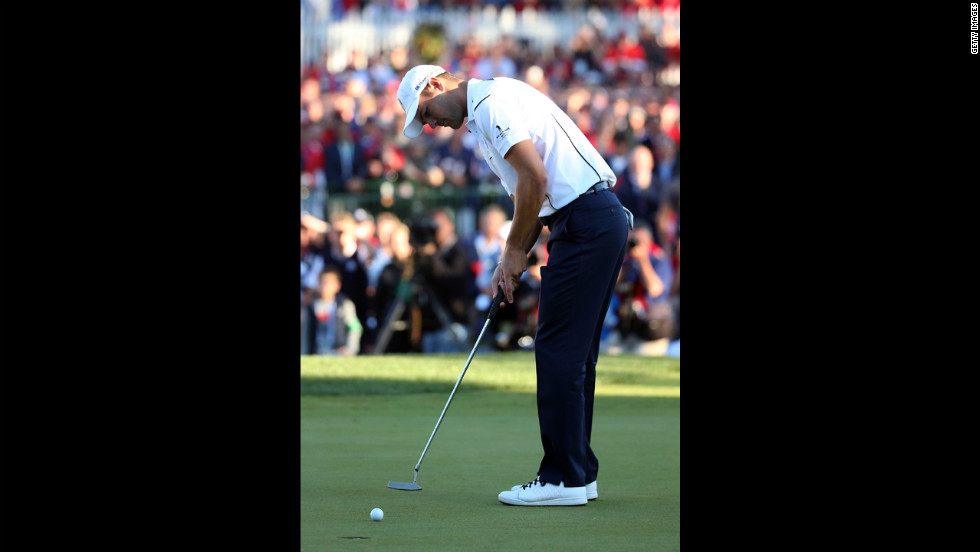 Martin Kaymer putts on the final hole Sunday to secure Europe's win.