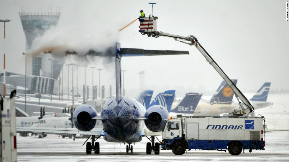 A Finnair plane is blasted with de-icing liquid on the tarmac of Helsinki Vantaa Airport. Oxygen consuming chemicals are required to de-ice planes during the winter months in the Finnish capital, however Vantaa Airport has initiated a program that insists on securing the least polluting products for this task.