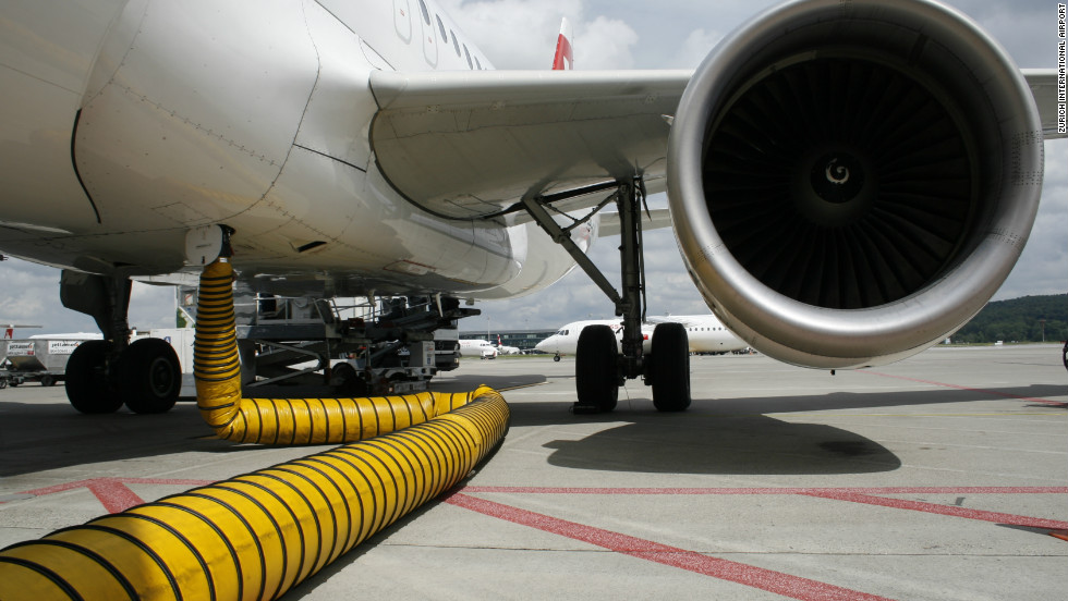 Aircraft docked at Zurich International are powered by fixed ground sources connected to the airport terminal building and not by their own auxiliary power units. The Swiss airport estimates that this tactic has so far saved around 30,000 tons of CO2 emissions.