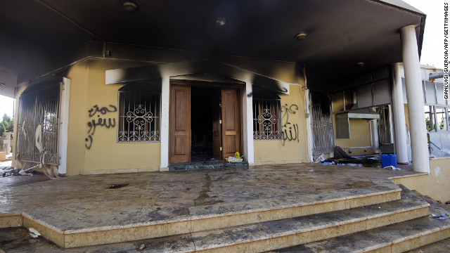 A picture shows a burnt building at the US consulate compound in the eastern Libyan city of Benghazi on September 13, 2012 following an attack late on September 11 in which the US ambassador to Libya and three other US nationals were killed. Libya said it has made arrests and opened a probe into the attack, amid speculation that Al-Qaeda rather than a frenzied mob was to blame. AFP PHOTO/GIANLUIGI GUERCIA (Photo credit should read GIANLUIGI GUERCIA/AFP/GettyImages)