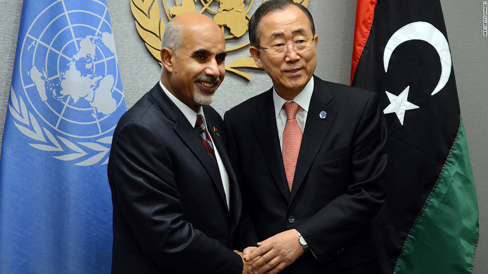 United Nations Secretary-General Ban Ki-moon and Libyan President Mohamed al-Magariaf meet on Friday.