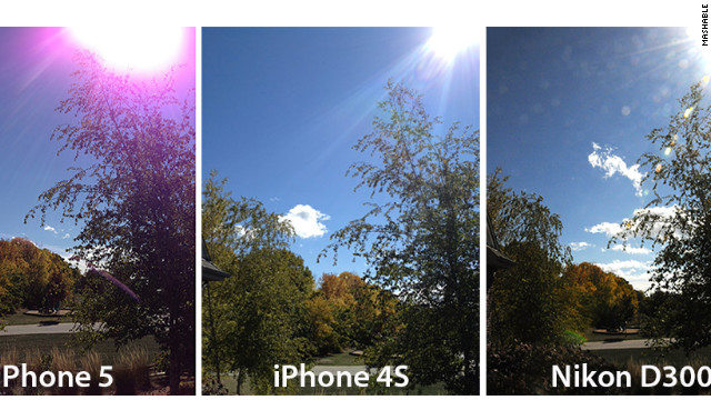 A comparison by Mashable of iPhone 5, iPhone 4S and Nikon D300 photos appears to show a purple glow on the new phone.