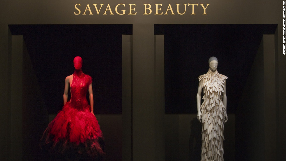 "Pictured is the title wall from the Costume Institute's wildly popular 2011 exhibition, ""Alexander McQueen: Savage Beauty,"" which celebrated the late British designer and couturier and featured about 100 ensembles and 70 accessories from his 19-year career."