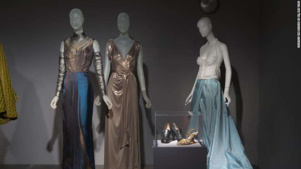 "The ""Fashion, A-Z: Highlights from the Collection of the Museum at FIT, Part Two"" exhibition through November 12 includes these evening gowns (from left) from Jean Paul Gaultier, Diane von Fürstenberg and Gianfranco Ferré and footwear from Salvatore Ferragamo."