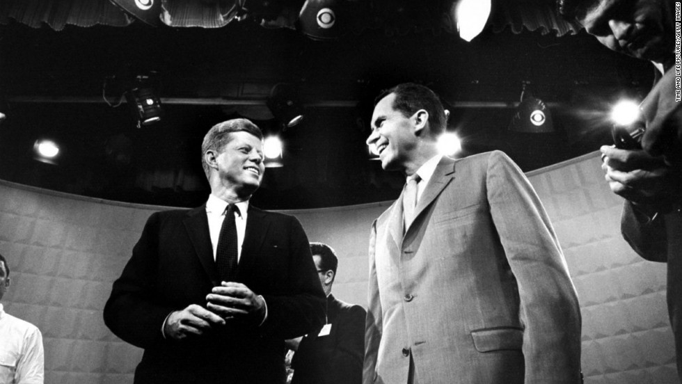 The two candidates talk before the first 1960 debate.