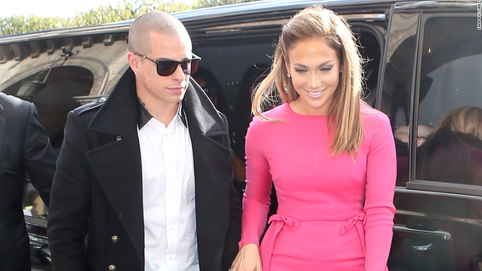Jennifer Lopez and Casper Smart leave their hotel in Paris.