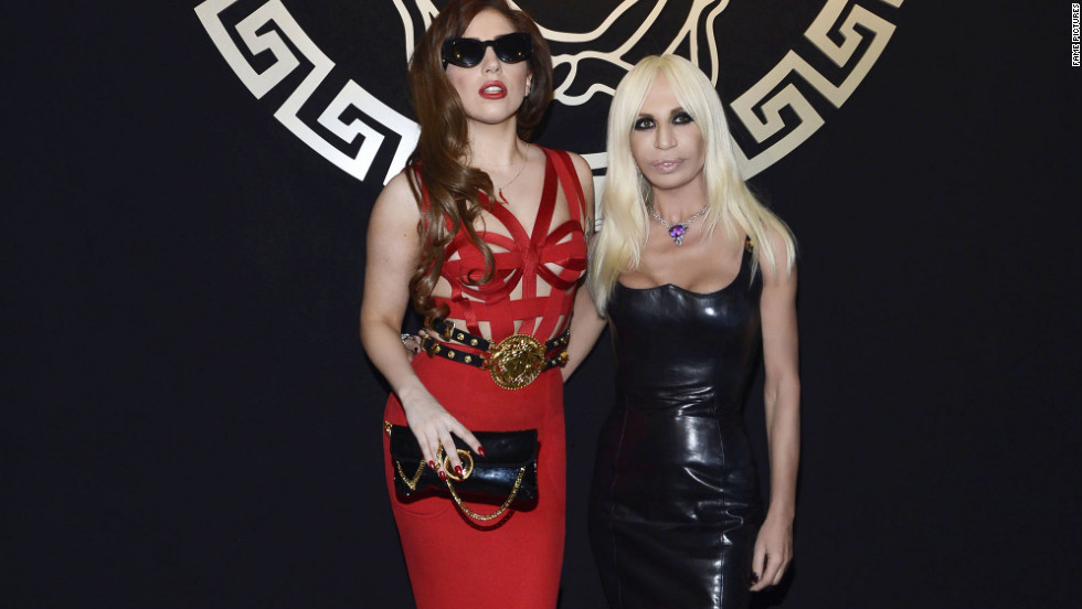 Lady Gaga and Donatella Versace pose together in Milan.