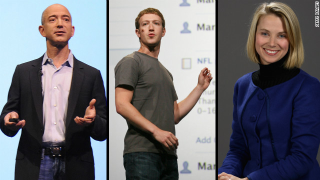Jeff Bezos (from left), Mark Zuckerberg and Marissa Mayer. Do they have what it takes to be the next Steve Jobs?