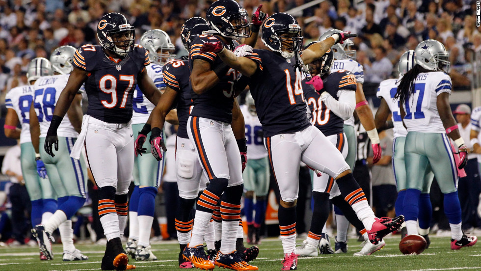No. 14 Eric Weems of the Bears celebrates on Monday. The Bears beat the Cowboys 34-18.