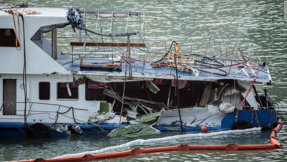 The damaged Lamma IV passenger boat sits offshore on Wednesday.