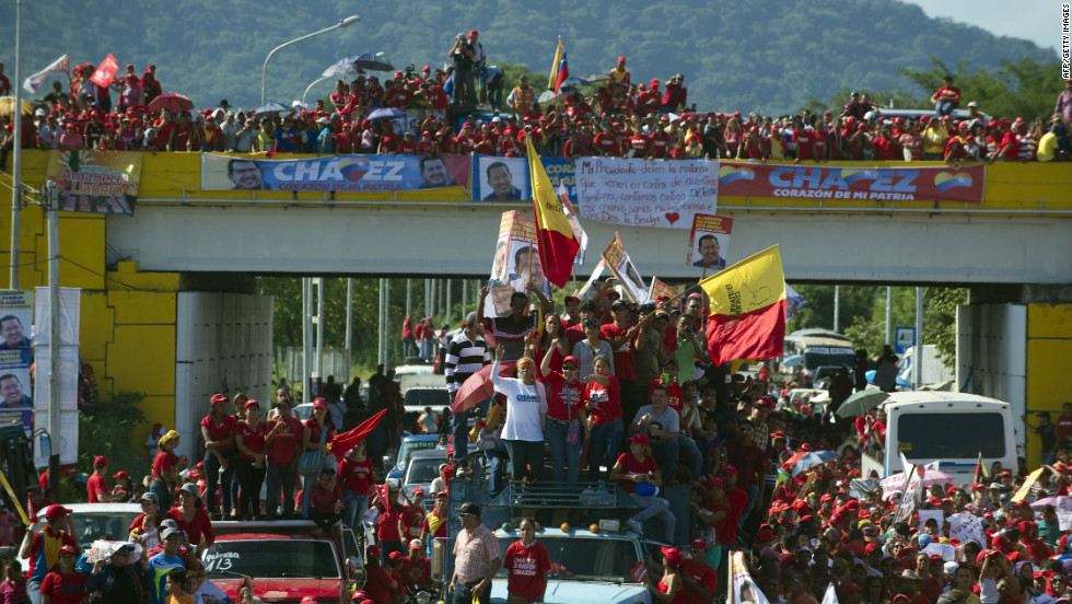 Chavez supporters attend a campaign rally in Boconoito on Monday.