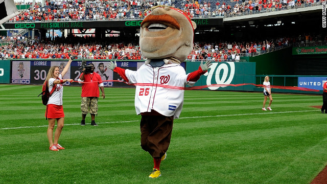 The Washington Nationals mascot Teddy Roosevelt wins the president's race for the first time during the game against the Philadelphia Phillies at Nationals Park on October 3, in Washington, DC.