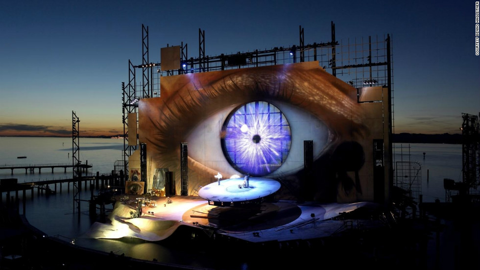 "The Bregenz Festival production of Tosca, with its startling open-eye backdrop, featured prominently in 2008's ""Quantum of Solace."""