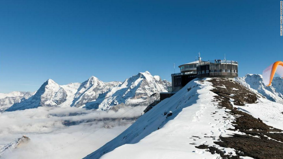 "Known for its stunning alpine views, the Piz Gloria restaurant at the top of Schilthorn in Switzerland is featured in ""On Her Majesty's Secret Service"" (1969)."