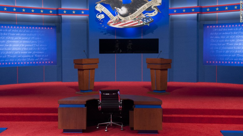 The stage is set prior to the first presidential debate at Magness Arena at the University of Denver in Denver, Colorado, October 3.