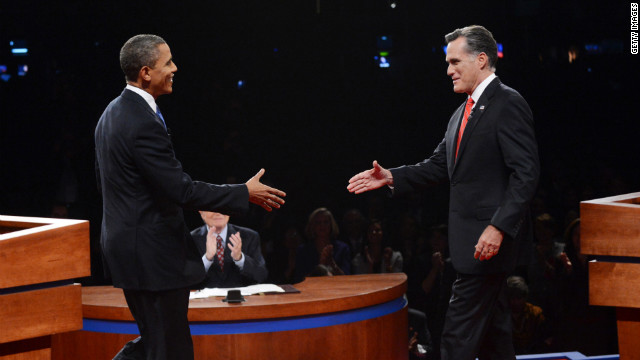DENVER, CO - OCTOBER 03:  U.S. President Barack Obama (L) shakes hands with Republican presidential candidate and former Massachusetts Gov. Mitt Romney during the Presidential Debate at the University of Denver on October 3, 2012 in Denver, Colorado. The first of four debates for the 2012 Election, three Presidential and one Vice Presidential, is moderated by PBS's Jim Lehrer and focuses on domestic issues:  the economy, health care, and the role of government.  (Photo by Michael Reynolds-Pool/Getty Images)