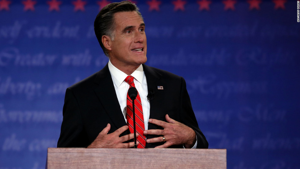 Romney speaks during Wednesday night's debate. The candidate called for a new economic path.