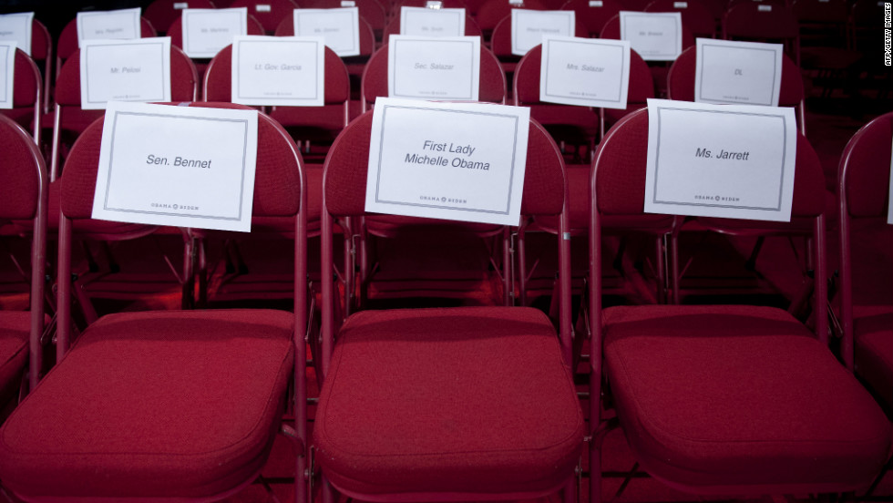 A seat is assigned to first lady Michelle Obama prior to Wednesday's debate.