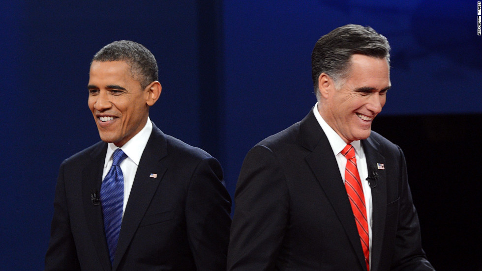 "President Barack Obama and Republican presidential candidate Mitt Romney finish their debate in Denver on Wednesday, October 3. <a href=""http://www.cnn.com/2012/10/03/politics/gallery/10-3-debate-prep/index.html"">View behind-the-scene photos of debate preparations.</a>"