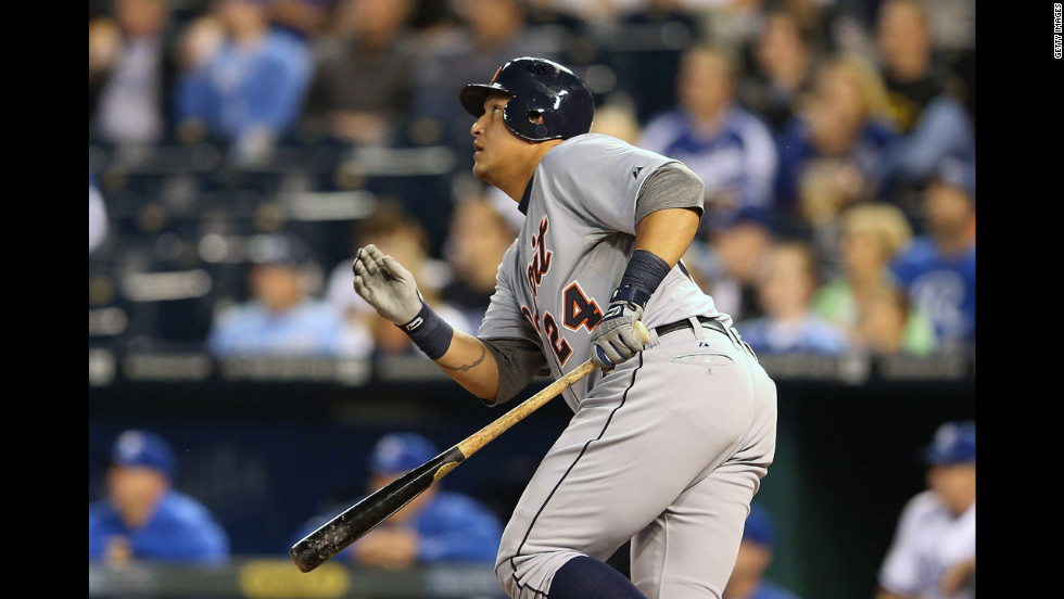 Cabrera bats during the first inning of the game.