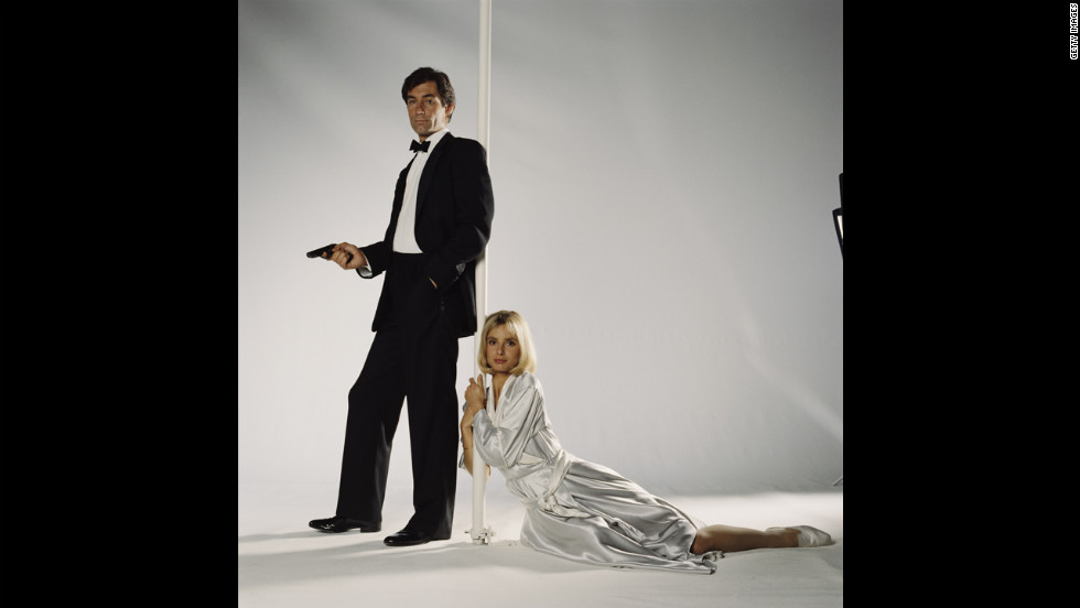 "Timothy Dalton and  Maryam d'Abo as Kara Milovy pose for a publicity still for the 1987  film ""The Living Daylights."""
