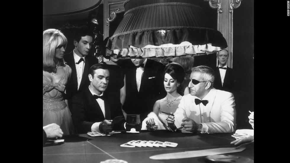 "A scene from the James Bond film ""Thunderball"" with Sean Connery, Claudine Auger, as Domino Derval, and Adolfo Celi playing Emilio Largo."