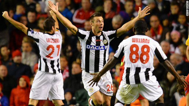Udinese's Giovanni Pasquale celebrates his goal against Liverpool at Anfield that helped his club to a 3-2 win