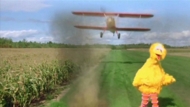 Romney, Big Bird in Hitchcock spoof