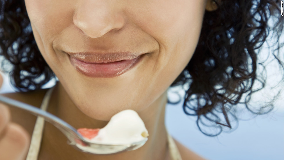 Calcium helps the body slim down — and yogurt has up to 50% more of it per ounce than milk.