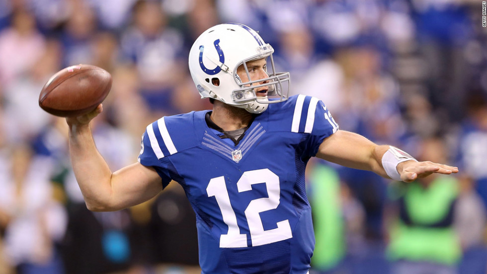 Colts quarterback Andrew Luck fires a pass Sunday.