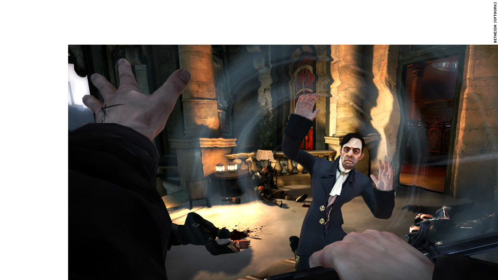 """Dishonored,"" a stealth adventure game set in a grimy industrial city, offers a first-person perspective and an emphasis on player choice."