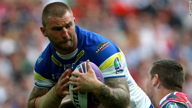 Warrington Wolves player Paul Wood played on despite rupturing a testicle.
