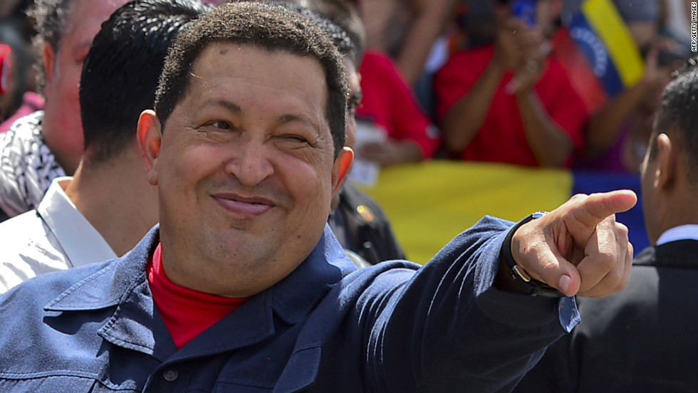 "Chavez greets a crowd before voting Sunday. The 58-year-old leader has been weakened by two surgeries for cancer, keeping secret the type of cancer and his prognosis. <a href=""http://www.cnn.com/2012/10/03/americas/gallery/venezuela-election/index.html"" target=""_blank"">Photos: Venezuela's presidential vote</a>"