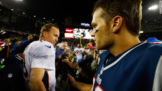 Patriots' Tom Brady and Broncos' Peyton Manning greet each other October 7, 2012.