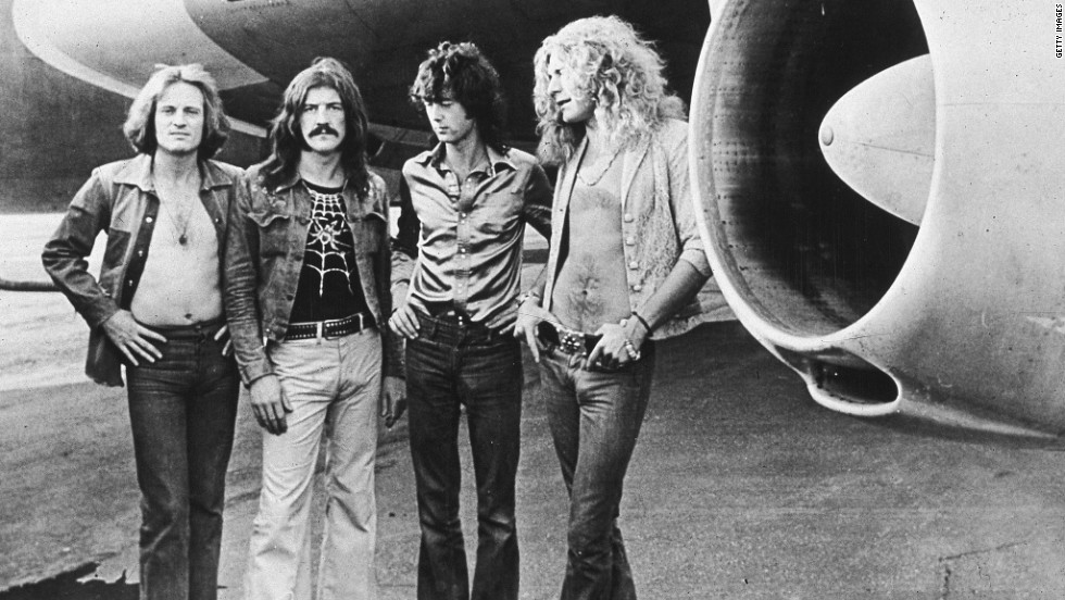 Archetypal '70s rock stars, John Paul Jones, from left, Bonham, Page and Plant use The Starship jet to tour in 1973.