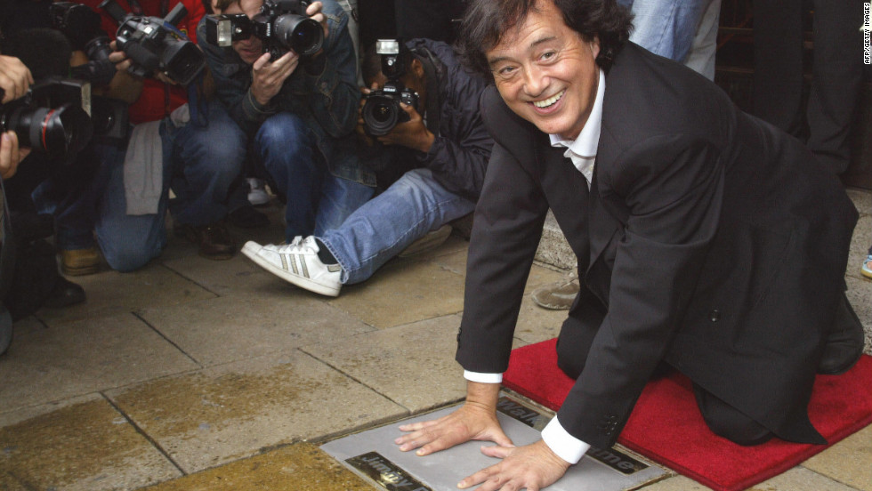 Guitarist Page helps launch London's Walk of Fame in 2004.