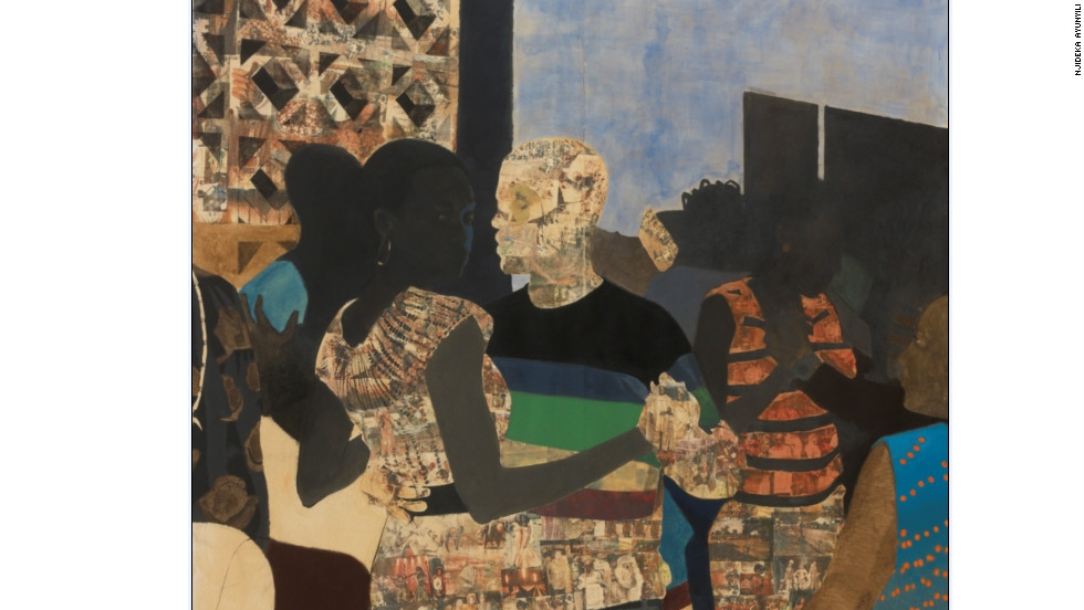 """This was the first multiple figure piece I did,"" said Akunyili. ""I had done so many two person compositions at this point that I wanted to challenge myself to figure out how to orchestrate a rectangle when there are multiple bodies to consider. ""The image is of a dance club and it was influenced by Malick Sidibe's photographs of dancing in Mali. I really responded to the energy in the Sidibe pictures."""