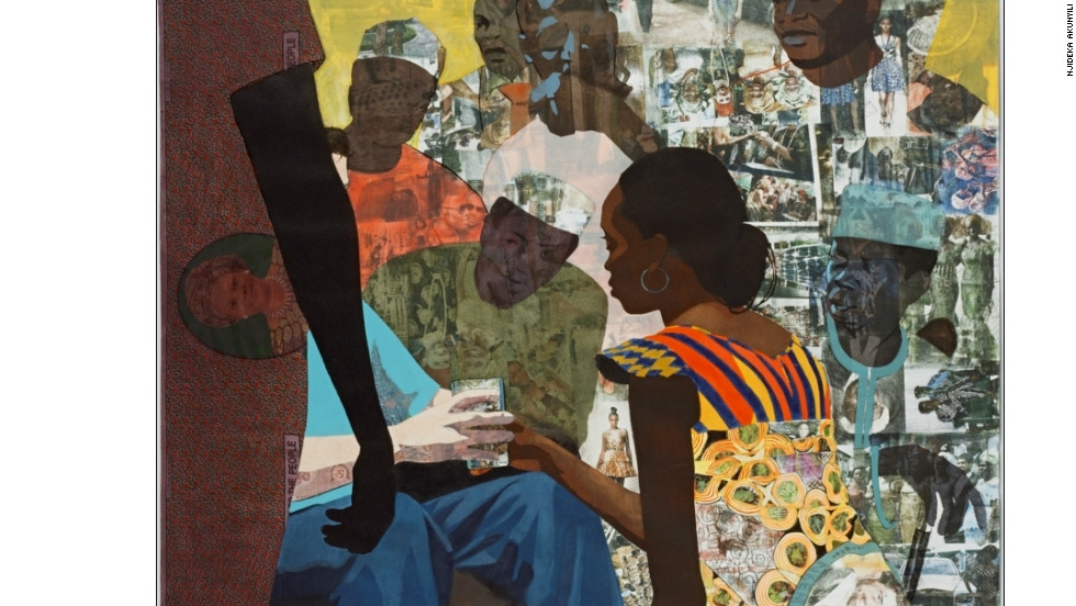 "Akunyili is part of the Igbo tribe, where a traditional wedding involves the bride kneeling as she gives a cup of palm wine to her new husband. ""I transferred and collaged images from my wedding into a lot of my work and decided to make a piece about this exchange,"" she said."