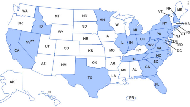 This map from the CDC shows the states with healthcare facilities that received the possibly contaminated steroid.