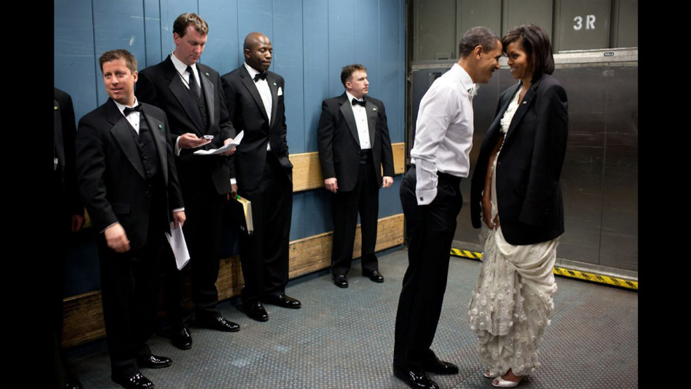 """We were on a freight elevator headed to one of the Inaugural balls on January 20, 2009. It was quite chilly, so the president removed his tuxedo jacket and put it over the shoulders of his wife. Then they had a semi-private moment as staff members and Secret Service agents tried not to look."""