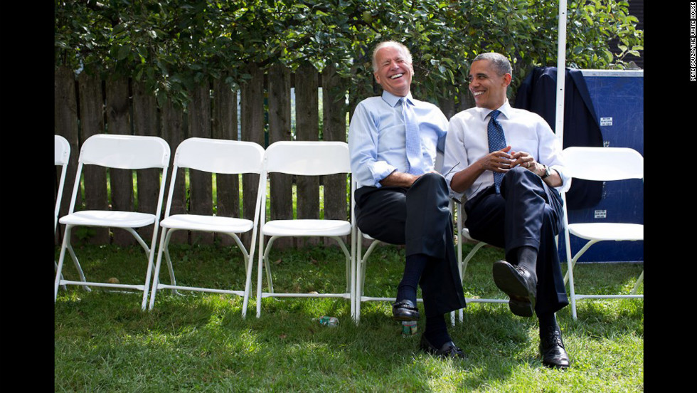 Obama and Vice President Joe Biden share a laugh before an event at the Strawbery Banke Museum in Portsmouth, New Hampshire, on September 7, 2012.