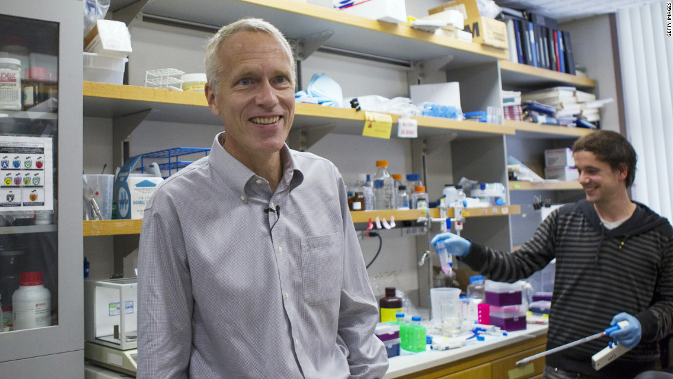Dr. Brian Kobilka, a professor of molecular and cellular physiology, stands in his laboratory at Stanford University. He shares the Nobel Prize in chemistry with Robert Lefkowitz of Duke University.