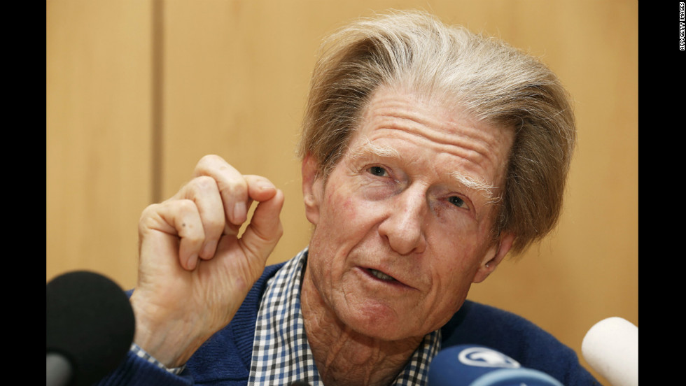 Sir John Gurdon speaks Monday at a press conference after being awarded the Nobel Prize in medicine.