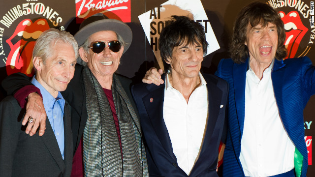 "Charlie Watts, Keith Richards, Ronnie Wood and Mick Jagger celebrate the launch of ""Rolling Stones 50"" in London in July."