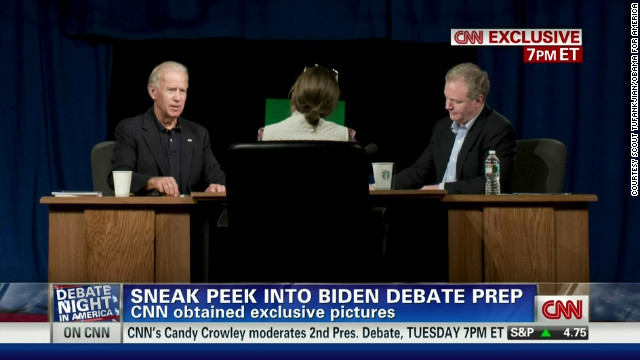 Vice president Joe Biden, left,  preps for a debate again Wisconsin Rep. Paul Ryan.